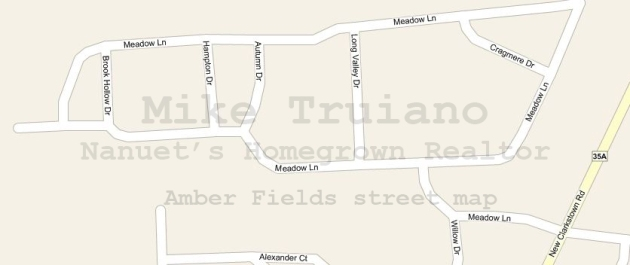 Amber Fields nanuet condo complex street map in Rockland County NY. Street Names include Meadow, Brook Hollow, Cragmere, Long Valley Autumn and Hampton Drive.
