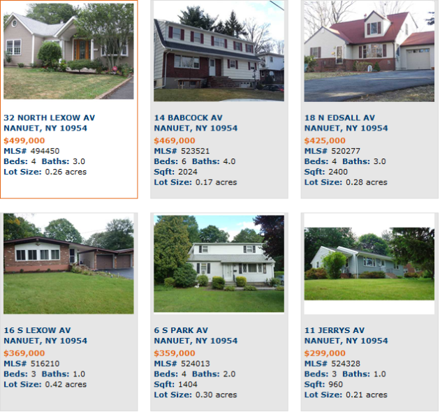 Featured homes for sale off Prospect Street in Nanuet