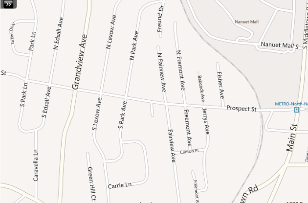 Interactive MLS map based search of Nanuet homes for sale near Prospect Street.
